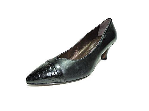 Attilio Giusti Leombruni AGL Womens Meghan Black Leather, Snake Skin toe Pumps 2.5 heels