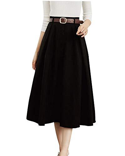 Yonglan Jupe Midi Femme Taille Haute Coupe Slim Strappy lgant Et Confortable Simple Boutonnage Jupe Trapze Noir