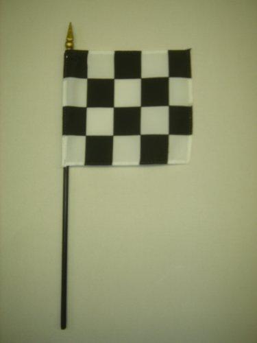 Checker Black & White Win Hand Held Desk Table Top Polyester Flag 4