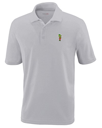 Platinum Cocoa - Christmas Elf Drinking Cocoa Embroidery Performance Polo Shirt Golf Shirt - Platinum, X Large