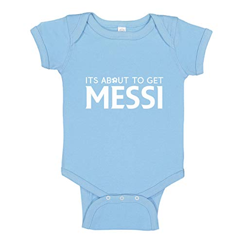 Indica Plateau Baby Romper Its About to Get Messi Light Blue for 24 Months Infant Bodysuit