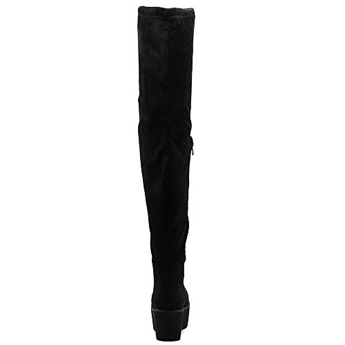 Ollio Frauen Schuh Stretch Faux Wildleder oder Kunstleder Oberschenkel-High Flat Platform High Heel Lange Stiefel Schwarz-SU