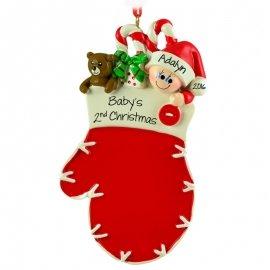 Red Mitten Baby Child Ornament