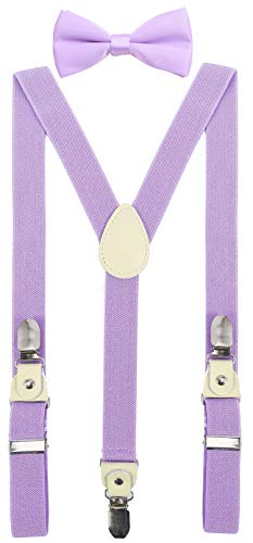 YJDS Baby Boys Leather Suspenders and Bowtie Set Strong Clips Light Purple 39 Inches ()