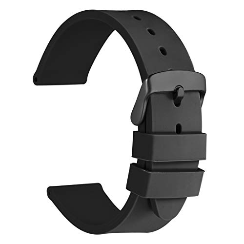 WOCCI 22mm Watch Bands - Premium Silicone Rubber Replacement Straps with Black Buckle (Black)