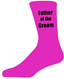 Hot Pink Wedding Socks with Black Father of The Groom Title. Adult size UK 6-12 Euro 39-49