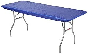 Kwik-Covers 30 x 72 6 Feet Royal Blue Rectangular Fitted Plastic Table Covers – 10 Pack