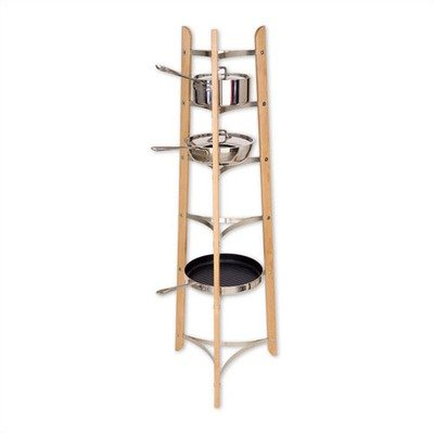 J.K. Adams Maple and Chrome Cookware Stand, 54 Inch