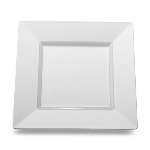 Square White Plastic Dinner Plates by Yoshi 10-3/4-inch 10 per Pack - smallkitchenideas.us