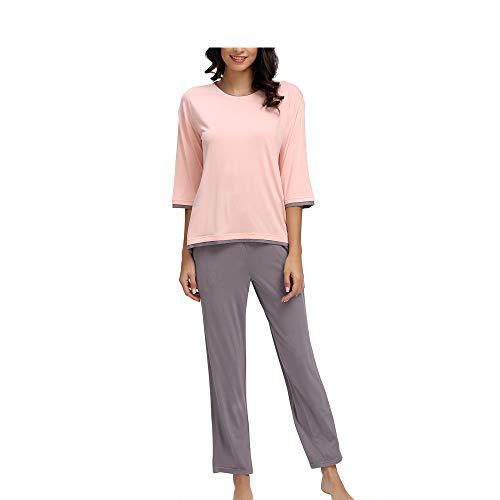 WiWi Bamboo Crew Neck Sleepwear for Women 3/4 Sleeve Pajamas Pants Set S-XXXXL(4XL), Pink+Purplish Grey, Medium