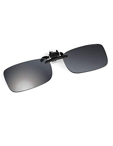 ROLLBERTO Clip-on Sunglasses Unisex Polarized Frameless Rectangle Lens Flip Up Clip on Prescription Sunglasses Eyeglass(M,Gray) ()