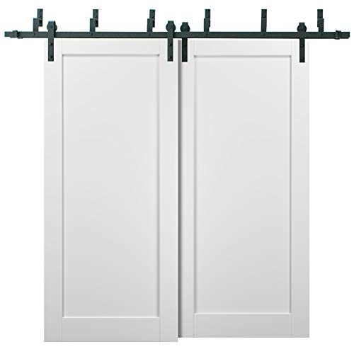 Barn Bypass Doors 84 x 96 with 6.6ft Hardware | Quadro 4111 White Silk | Sturdy Heavy Duty Rails Kit Steel Set | Double…