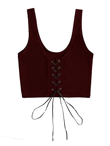 Romwe Womens Lace Up Front Tank Glitter Knit Cami Ribbon Crop Top
