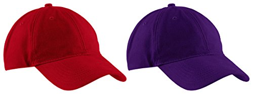 Port & Company Brushed Twill, Low Profile Cap RED AND PURPLE -