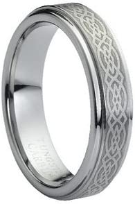 5mm Mens or Ladies Tungsten Carbide Ring Wedding Band with Laser Engraved Celtic Knot Design size 9