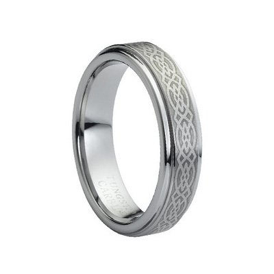5mm Men's or Ladies Tungsten Carbide Ring Wedding Band with Laser Engraved Celtic Knot Design Size 5 (Platinum Celtic Bands compare prices)