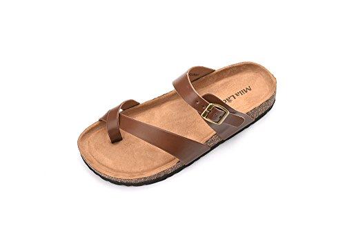 Ashley A Womens Summer Comfortable Strappy Flip Flops Cork Sole Slide Flat Sandals, Brown Size 9.0 -