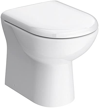 VeeBath Pro Bathroom D Shaped White Modern Back to Wall BTW WC Toilet Pan with Soft Close Seat & Cover - 550mm Projection