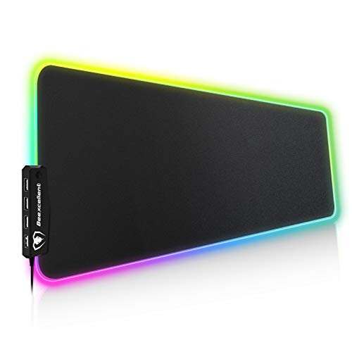 RGB Gaming Mouse Pad, 14 Lights Modes with 4 USB Ports Ultra-Large Size Soft Extra Extended Mousepad, Anti-Slip Rubber Base Computer Keyboard Mat 31.5X 11.8in