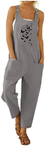 KAIXLIONLY Women Boho Print Pockets Jumpsuits Pockets Button Strap Rompers Casual Cotton Linen Wide Leg Long Playsuit