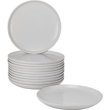8.25u0026quot; Modern Versatile White Stoneware Ceramic Salad/Dessert Dining Plates Double Line Design  sc 1 st  Amazon.com & Amazon.com | 8.25
