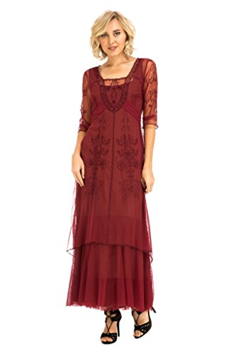 (Nataya CL-201 Women's Victoria True Romance Vintage Style Party Dress In Berry (S))