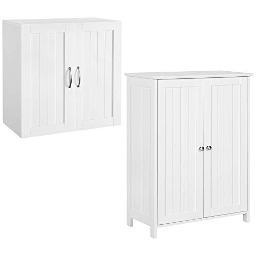 Yaheetech 2 PC Bathroom Furniture Sets – 2 Doors Floor Cabinet & Wall Cabinet Storage Organizer with Adjustable Shelf for Bathroom/Medicine/Kitchen/Laundry White