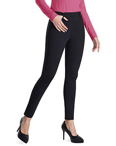 Harsmile Women's High Waist Stretch Dress Yoga Pants Tummy Control Work Office Pants Skinny Workout Yoga Leggings (Black, M)