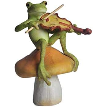 Perfect Top Collection Enchanted Story Fairy Garden Frog Playing Fiddle On Mushroom  Outdoor Statue