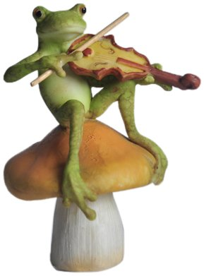 Top Collection Enchanted Story Fairy Garden Frog Playing Fiddle on Mushroom Outdoor - Mushroom Outdoor Patch
