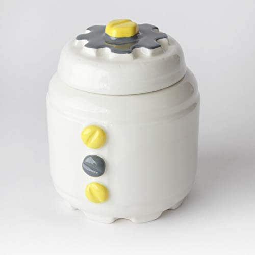 Azucarero de Cerámica Artesanal, Más colores disponibles, diseño mecánico con engranajes y tornillos - h 10,5 x Ø 8cm (Gris, Amarillo)