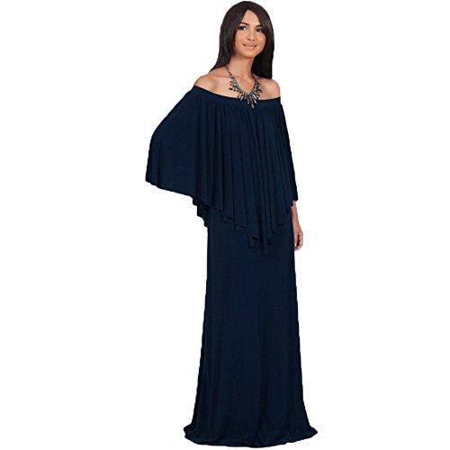 WintCO Damen Langarm Abendkleid Lang Schulterfrei Kleid Maxikleid ...