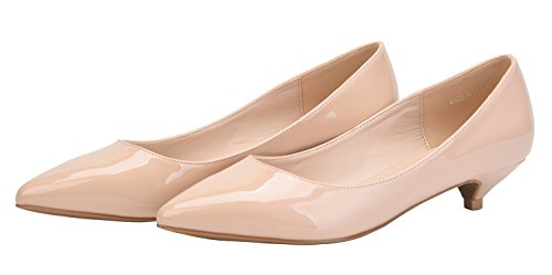 Slip On Pointy Women's Comfort Nude CAMSSOO Low Pumps Toe Wedding Shoes Heel Dress Classic IxwBqxpf0Y