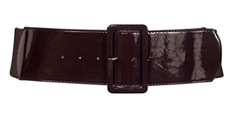 eVogues Plus Size Wide Patent Leather Fashion Belt Brown - One Size ()