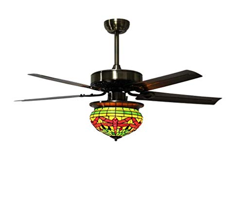 Tiffany Style Ceiling Fan Light Kit, Vintage Stained Glass Dragonfly Single-Light Lampshade Ceiling Light with Metal Blades, for Indoor/Bedroom/Living Room LED Fan Chandelier Mute Fan,A ()