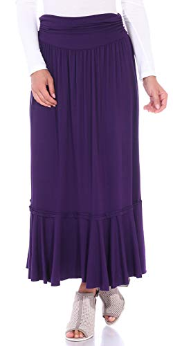 Popana Women's Casual Long Convertible Maxi Skirt Summer Beach Cover Up Made in USA Eggplant Large