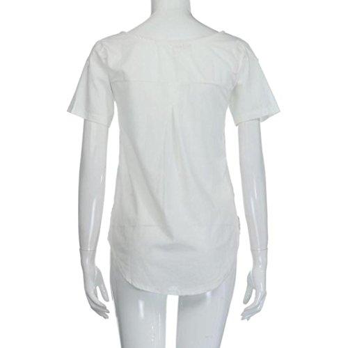 Teet S Lche Soirée À Taille Col Irrégulier Poches Pure Chemisier Couleur Coton shirt Courtes Décontracté Femmes 3xl Blouse Blanc Mode Lin Manches Adeshop Rond Grande Bouton T xgSqvzz
