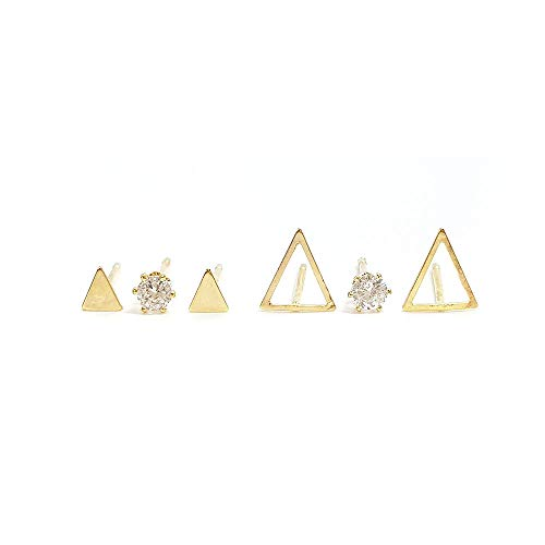 N.CAT Hypoallergenic 3 Pairs Multiple Stud Earrings Geometric Stud Assorted Set Earrings (Triangle Gold) ()