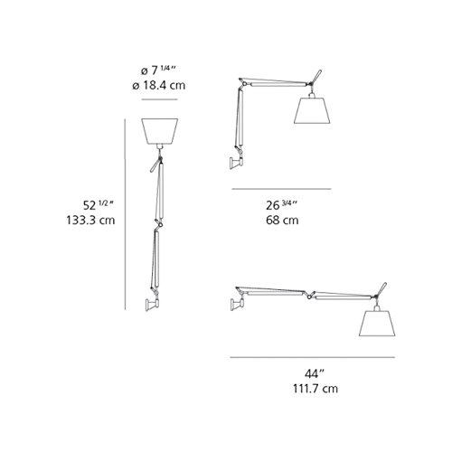 Artemide Tolomeo Tilting Diffuser Wall Lamp Parchment Wall Bracket INCLUDED Design Michele De Lucchi Giancarlo Fassina Italy 2004