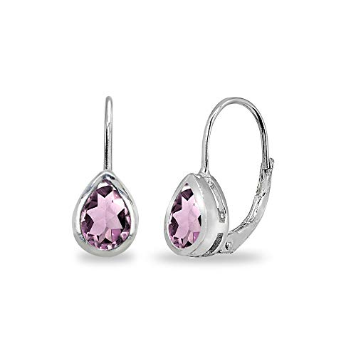 Sterling Silver Simulated Alexandrite 7x5mm Teardrop Bezel-Set Dainty Leverback Earrings for Women Teen Girls