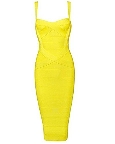 Mid Calf Gown - Whoinshop Women's Rayon Strap Mid-Calf Length Evening Party Bandage Prom Dress (M, Yellow)