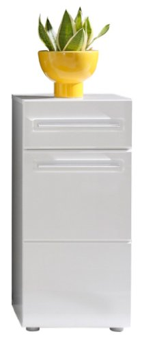 Furnline 1327-801-01 Bora High Gloss Bathroom Side Cabinet, White