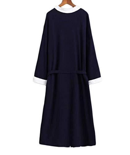 In Cotone Lunga Notte Pigiama Manica Black2 Yasminey Indumen Accappatoio Uomo Camicia Da ZFSwnAq5