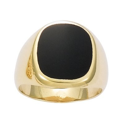 So Chic Jewels - 18K Gold Plated Black Onyx Signet Ring - Size 11.5
