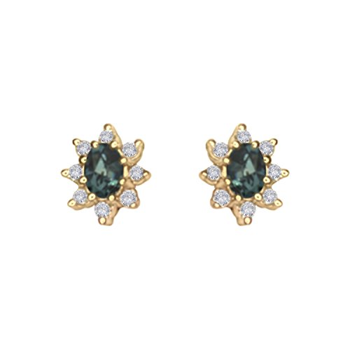 Natural Color Change Alexandrite Diamond Earring in 14K Yellow Gold ()