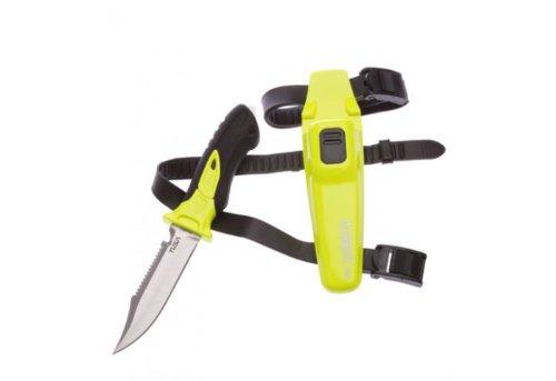Tusa Imprex X-Pert II Scuba Diving Drop Point Knife with Sheath and Leg Straps (Flash Yellow/Black)