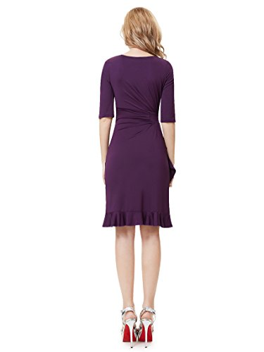 Party Alisa 03900 Sleeve Elegant Half Purple Stretch Dark Pan Ruffled Bottom Dress wz0wp6qr