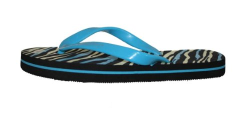 Womens Flip Flop With zebra print /Solid Neon Color Straps Assorted Colors Blue NZImRFCUR7