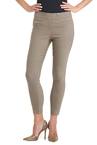 Rekucci Women's Ease In To Comfort Slim Ankle Pant With Snaps (8,Oatmeal) (Ladies Ankle Pants)