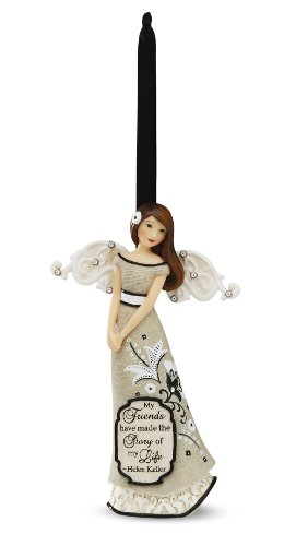 Friend Angel Ornament - Modele Friend Angel Ornament by Pavilion, Reads My Friends Have Made The Story of My Life - Helen Keller, 4.5-Inches Tall